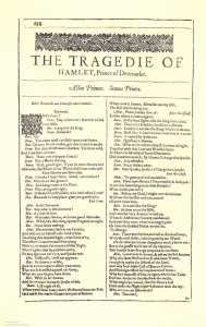 "Facsimile image of the first page of Hamlet from the First Folio. From top to bottom it reads, ""The Tragedie of Hamlet, Prince of Denmark. Actus Primus, Scena Prima."" Below the first lines of the play appear in two columns."
