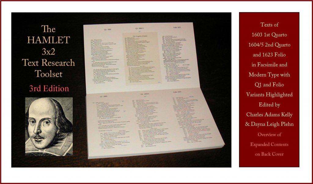 Image showing the front cover of The Hamlet 3x2 Text Research toolset. From left to right, the cover shows the title of the book, a portrait of William Shakespeare, a photograph of the interior layout of the book with the three Hamlet texts presented in parallel, and a description of the contents, as below.