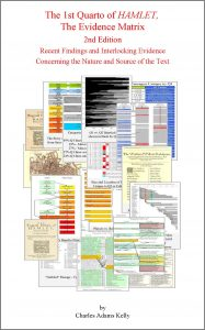 Image showing the front cover of The 1st Quarto of HAMLET, the Evidence Matrix, 2nd Edition in softcover. A white cover with red lettering and a collage of various charts and graphs illustrating the history of Hamlet Q1 that can be found inside the book.
