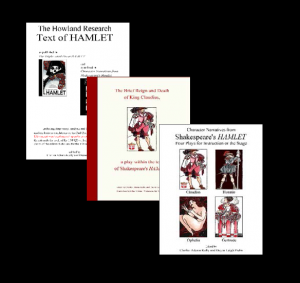 "An array of three book covers representing the ""stage and script planners"" group of publications. Each is more fully described at the linked page."